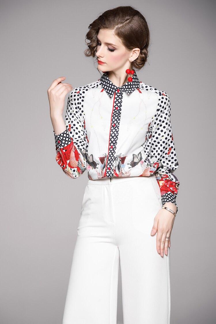 Vintage Print Long Sleeve Chiffon Work Office Blouse Shirt 2