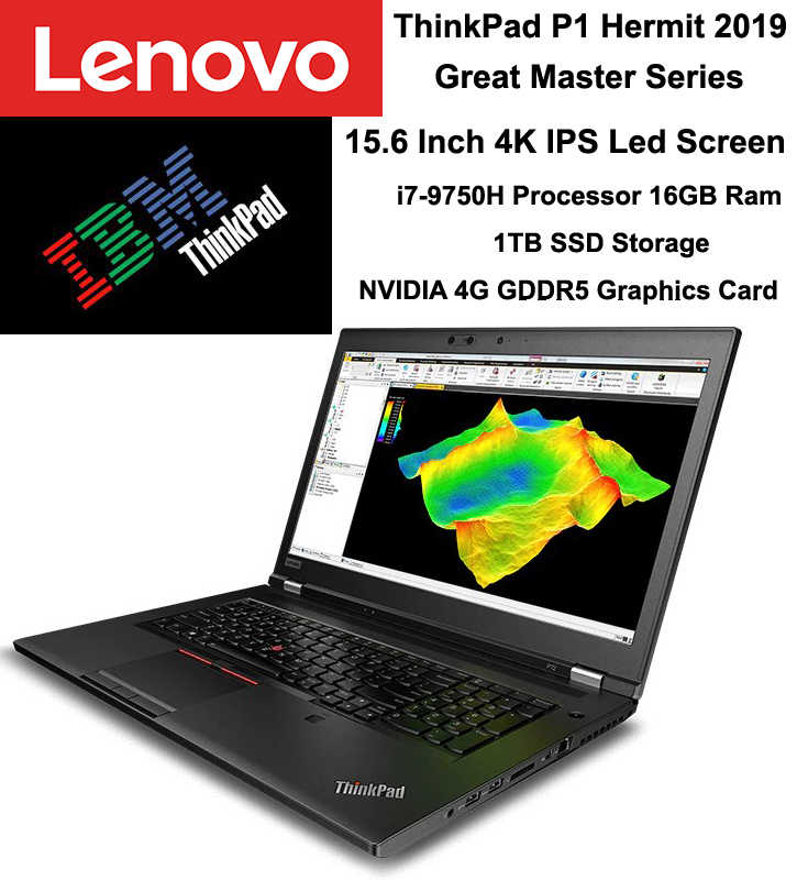 High-End Laptop Lenovo ThinkPad P1Hermit/Grandmaster 2019 Baru 15.6 Inci FHD I7-9750H 8GB 1TB 4GB GPU Thunderbolt 3.0