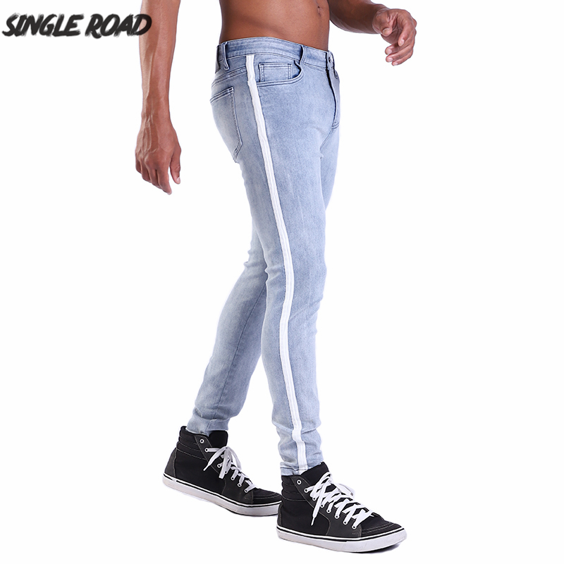SingleRoad Brand EUR Size High Quality Men's Skinny Jeans Men Side Striped Solid Stretch Blue Jeans Male Denim Casual Pants