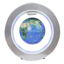 4Inch Magnetic Levitation Globe Circular Frame Globe Rotating Magnetic Ball Air World Map for Office Set Off