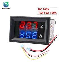 10A 50A 100A DC100V светодиодный цифровой вольтметр Амперметр автомобильный мотоцикл измеритель напряжения тока детектор напряжения Тестер монитор панель инструмент