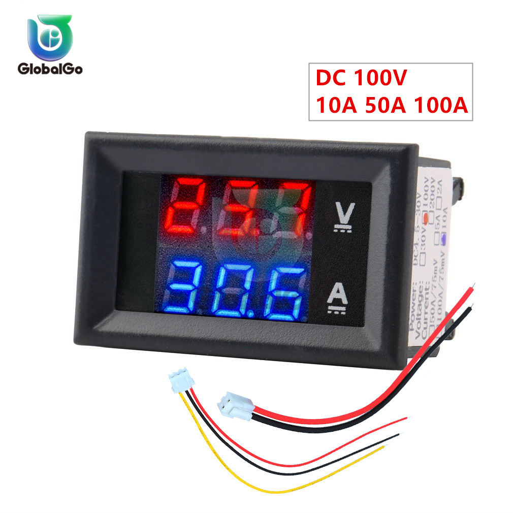 10A 50A 100A DC100V LED Digital Voltmeter Ammeter Car Motocycle Voltage Current Meter Volt Detector Tester Monitor Panel Tool