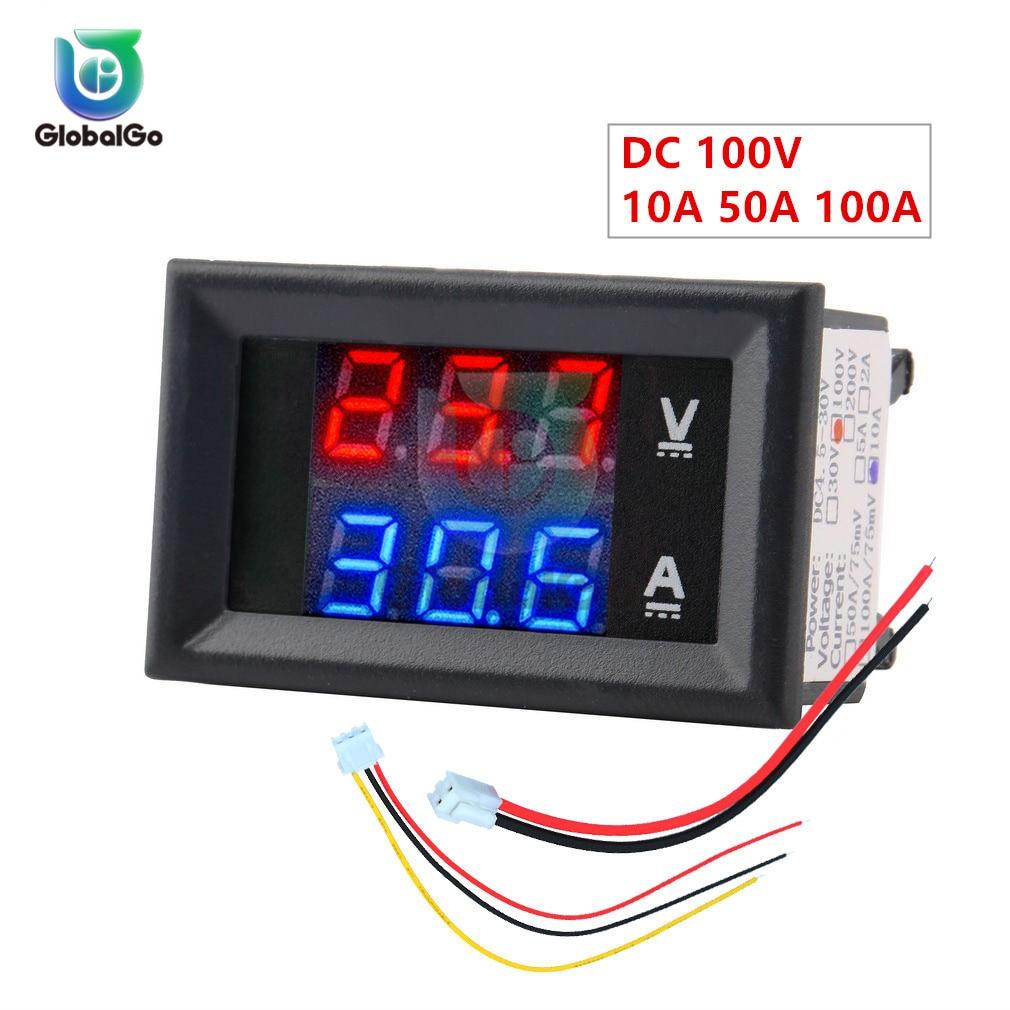 10A 50A 100A DC100V LED Digital Voltmeter Ammeter Car Motocycle Voltage Current Meter Volt Detector Tester Monitor Panel Tool