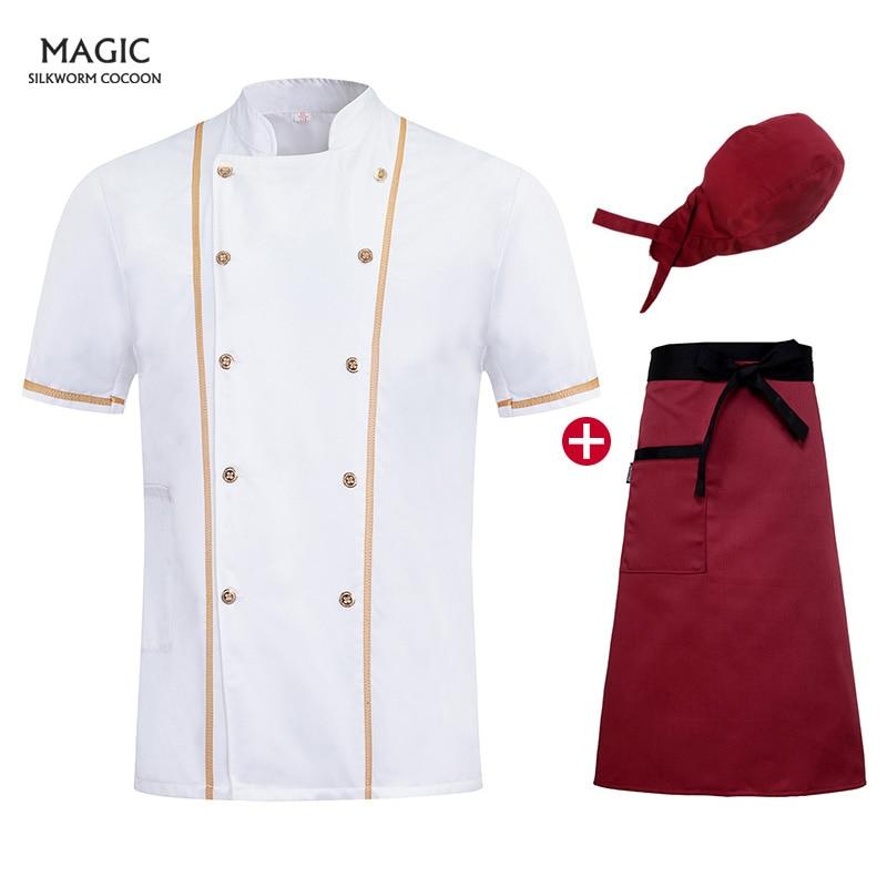 Unisex Short Sleeve Kitchen Jacket Summer Pastry Chef Clothing White Cuisine Chef Uniform Apron Adjustable Hat For Men And Women