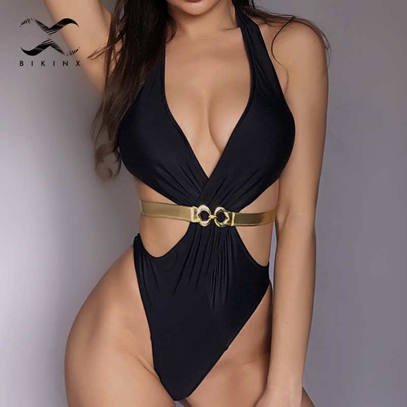 Deep v-<font><b>neck</b></font> swimsuit female swimwear Backless one-piece suits women's swimming suit female Brazilian <font><b>bikini</b></font> thong <font><b>Sexy</b></font> monokini image