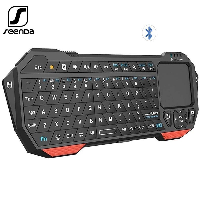 Seenda мини беспроводная клавиатура с тачпадом для Mac ноутбук ТВ коробка ручка Bluetooth клавиатура для IOS Android Win 7 10