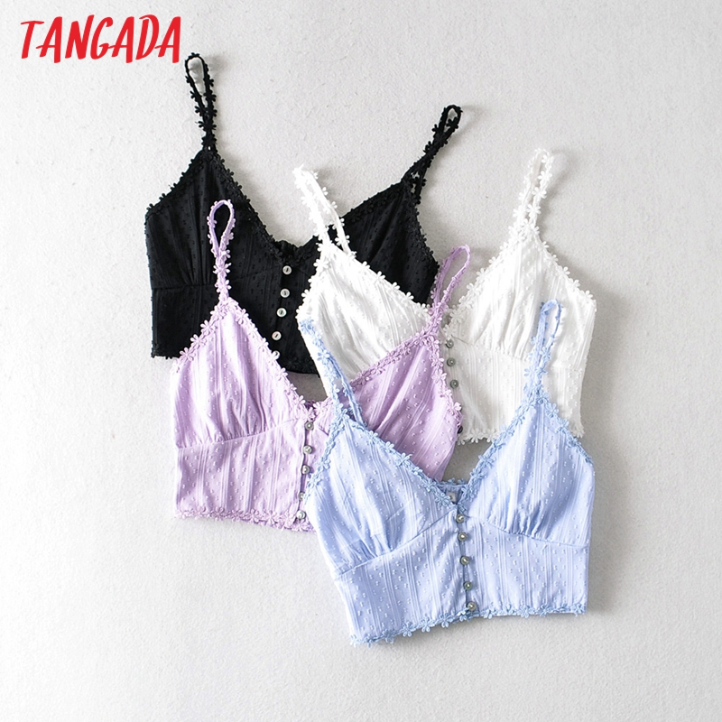 Tangada Women Lace Embroidery Camis Crop Top Spaghetti Strap Sleeveless Backless Romantic Shirts Female Solid Tops 1A19
