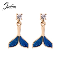 JOOLIM Stylish Delicate Blue Fishtale Dangle Earring Drop Earring Low Price Earring Wholesale Korean Earring цена