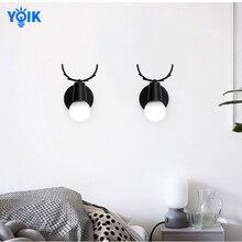 Lámpara de madera moderna de estilo nórdico, lámpara de asta con personalidad creativa, Simple, para sala de estar, dormitorio, mesita de noche, comedor, lámpara de pared de macarrón