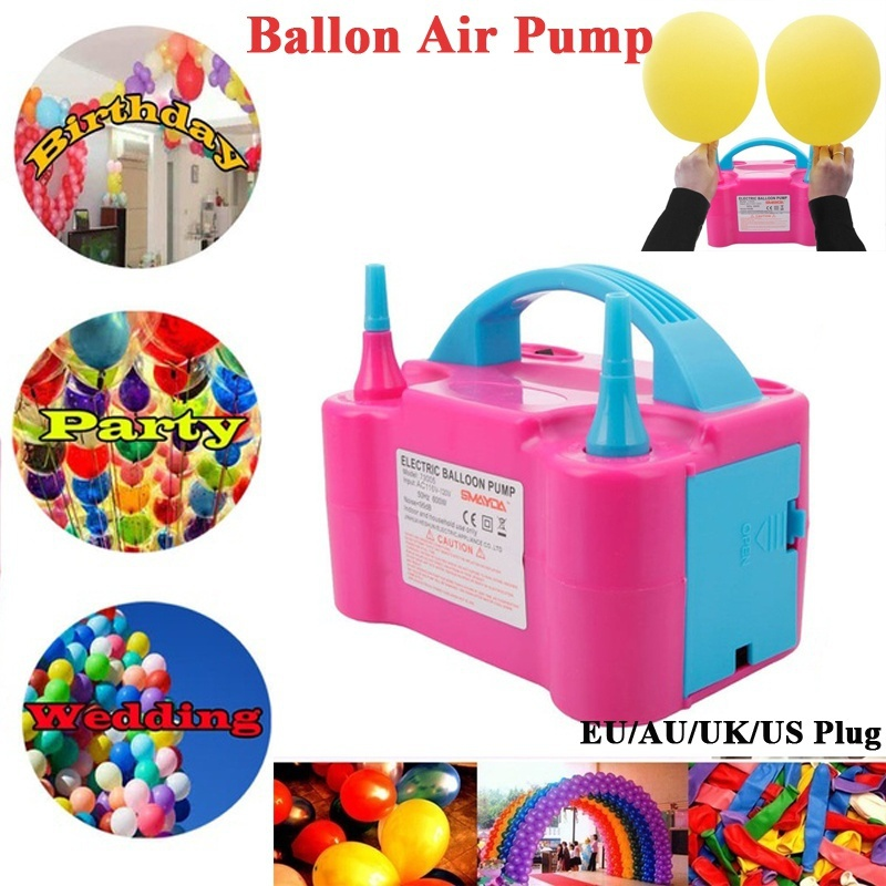 Portable Double Electric Balloon Air Pump Inflator Dual Nozzle Blower With AU/UK/US/EU Plug