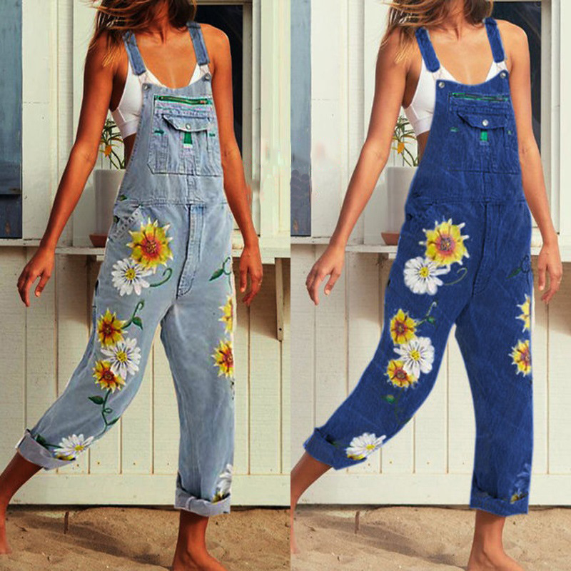 Womens Fashion Sunflower Print Jumpsuit Plus Size 5XL Sexy Sleeveless Romper Loose Casual Adjust Dungarees Overalls