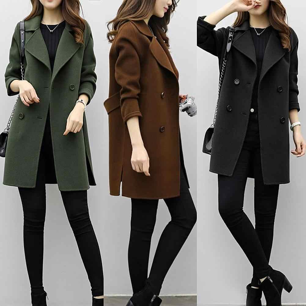Casaco feminino outono inverno jaquetas cor sólida lapela de lã dupla breasted midi trench coat solto manga longa jaqueta quente mantendo