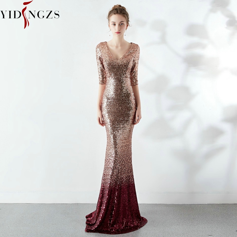 Robe De Soiree Elegant Formal Sequins Party Dress YIDINGZS Half Sleeve Long Evening Dress YD16116
