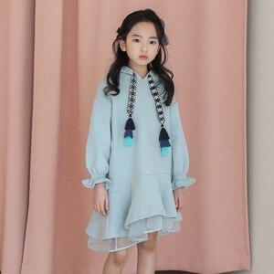 Image 3 - Детское платье с длинными рукавами для девочек весенне осенние толстовки с капюшоном, платья свитеры хлопковая однотонная свободная одежда для подростков 10 12 лет, Новинка