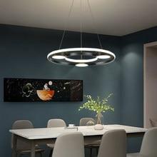 Noir LED plafonnier Suspension pour cuisine Table à manger salon moderne rond cercle Suspension lustre éclairage intérieur