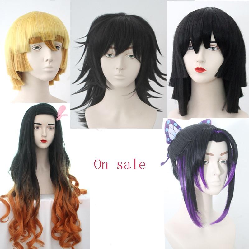 Demon Slayer Kimetsu No Yaiba Kamado Nezuko Cosplay Wig Iguro Obanai Tomioka Giyuu Kochou Shinobu Hair Agatsuma Zenitsu Costume
