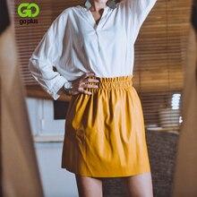 Zimowa damska skórzana Mini spódniczka czarne elastyczne spódnice z wysokim stanem odzież damska Faldas Mujer Moda 2020 Jupe Femme Streetwear
