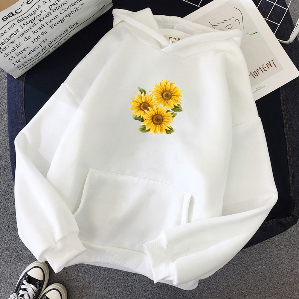 DEELIN Womens Sweatshirt Fashion Sunflower Butterfly Print Long Sleeve Stretchable O-Neck Pullover Blouse Tops Plus Size Winter Autumn