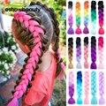 Джамбо косы выражение волос для вязания крючком косички для волос Синтетические Kanekalon наращивание волос чистый Омбре цветные для женщин 24 д...