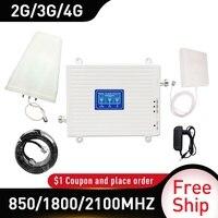 Tri band 850/1800/2100MHZ mobil amplifikatör tekrarlayıcı CDMA 4G tekrarlayıcı WCDMA 2G 3G 4G tekrarlayıcı hücresel sinyal güçlendirici DCS LTE