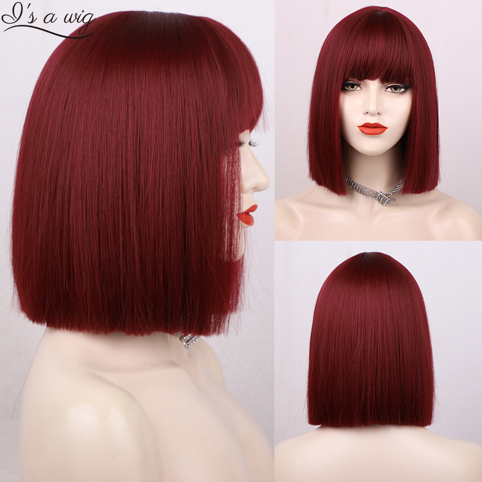 I's a wig Synthetic Bob Wigs Short Straight Red Wigs with Bangs for Women Black Pink Purple Brown Cosplay Hair for Party Daily