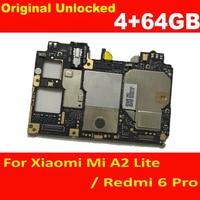 Original Volle Arbeits Entsperren Motherboard Für Xiaomi Redmi 6 Pro 4 + 64GB Logic Circuit MainBoard Platte Mi A2 lite Karte Gebühr