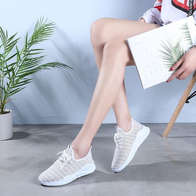 حذاء نسائي كاجوال موضة تنفس المشي شبكة حذاء مسطح امرأة بيضاء أحذية رياضية النساء رياضة Feminino رياضة أحذية رياضية A3094 4