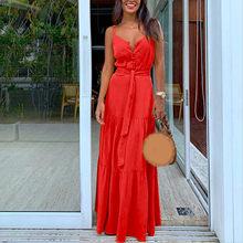 Robe d'été Style Boho pour femmes, sans manches, à bretelles, col en v, Sexy, fête, plage, # T2G