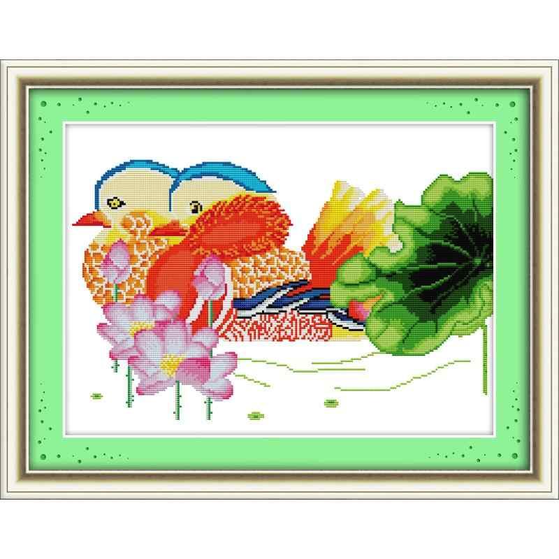 Radość niedziela Mandarina kaczki z lotosu haft krzyżykowy zestaw do szycia 11CT i 14CT DIY krzyż zestaw do szycia dekoracje bawełniane dla domu