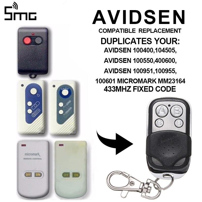 1pcs Garage Gate Door Opener 433MHz Remote Control For AVIDSEN 100400 104505 100550 400600 100951 100955 Remotes Clone 433.92MHz