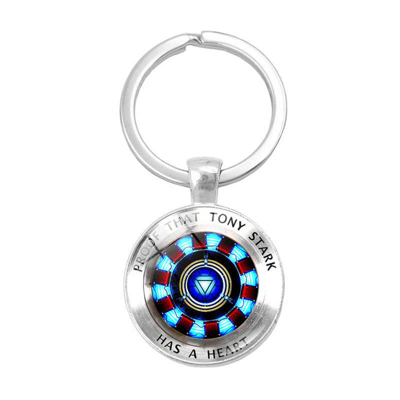 Iron Man Arc Reactor Glass Dome Pendant Keychain Proof That Tony Stark Has A Heart Jewelry gifts Silver Metal Key Chain Holder