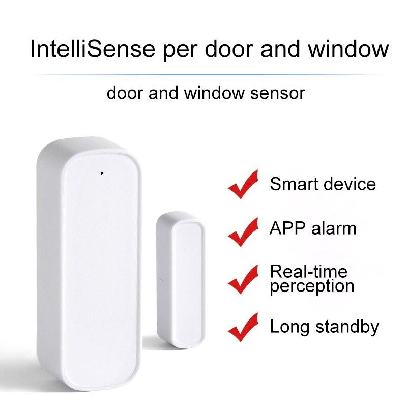 Smart Door Magnetic Alarm Tuya APP Door Window Wireless Detector Security Sensor WiFi Burglar Alarm Sensor For Alexa Google