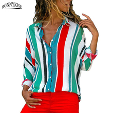 RONNYKISE Striped Chiffon Shirts Womens Fashion Long Sleeve Blouses Summer Autumn Casual Ladies Tops