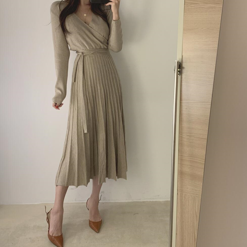 Chic Women Autumn Winter Long Knitted Pleated  Dress Female With Sashes A Line  Sweater Dresses