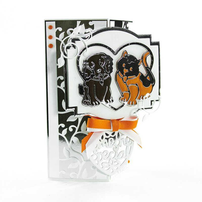 Kedi ve köpek aşk kalp kalıp kesim kart yapımı için çift kedi ve köpek Metal kesme ölür Scrapbooking şablonlar dekorasyon yeni 2019