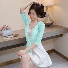 Summer Women Lace Crochet Bowknot Lace Up Short Blouse Sun Protection Beach Cover Up Hollow Out Tops Cape Blouses Shirt White(China)
