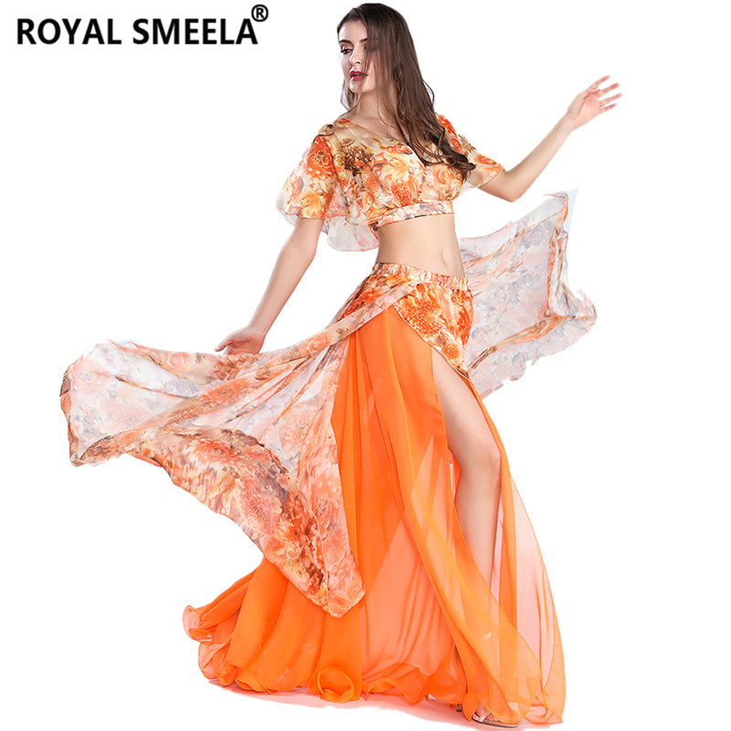 Shipping Bellydancing Top Skirt Fashion Printed Floral Lotus Leaf Top Belly Dance Practice Clothing Training Or Performance