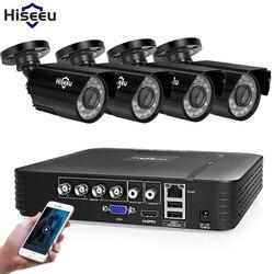 Sistema de cámaras de seguridad para el hogar Hiseeu Kit de videovigilancia CCTV 4CH 720P 4 Uds sistema de cámaras de seguridad AHD al aire libre