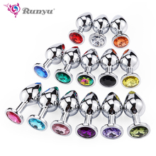 Runyu Toys for Adults Plug Anal Sex Metal Butt With Jewelry Erotic Toy Mini Vibrator Private Good Men/Women