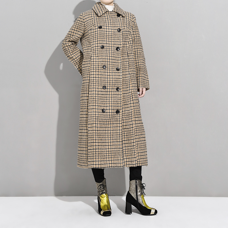 Image 4 - LANMREM 2020 Spring Loose Office Lady Coat Woman Long Sleeve Turn  down Collar Over Knee Double Breasted Woollen Overcoat TA064Wool