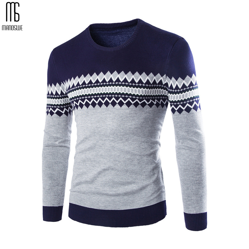 Manoswe Casual Warm Patchwork Knitted Sweater Men 2019 New Autumn Winter Trend O-Neck Slim Fit British Wind Pullover XXL Jumper