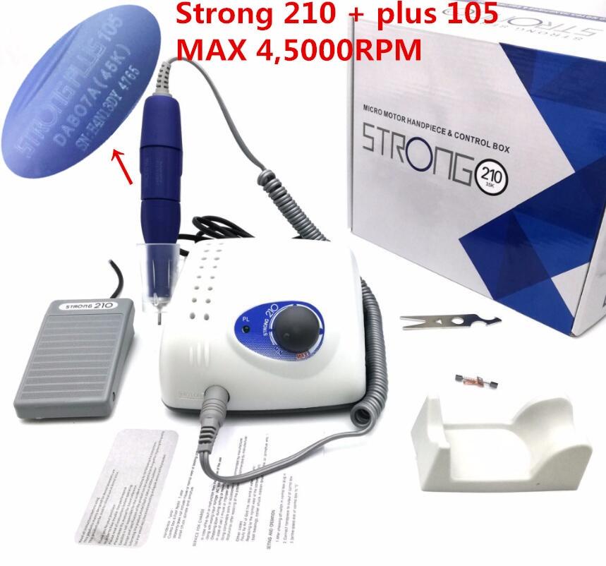 Фрезер Strong 210 105L Электрический для ногтей, 65 Вт, 50000 об/мин