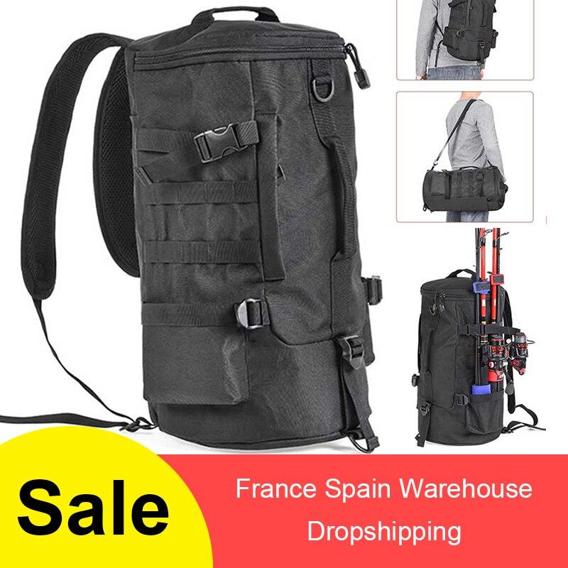 Fishing Bag  Folding  Black Cylindrical Large Capacity Fishing Tackle Backpack  Tackle Storage Bags Travel Carry  Bag Black