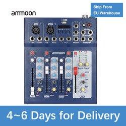 Ammoon F4-USB 3 Microfone Linha Misturador Console de Mixagem de Áudio Digital Canal com 48V Phantom Power para a Gravação Da Música do DJ