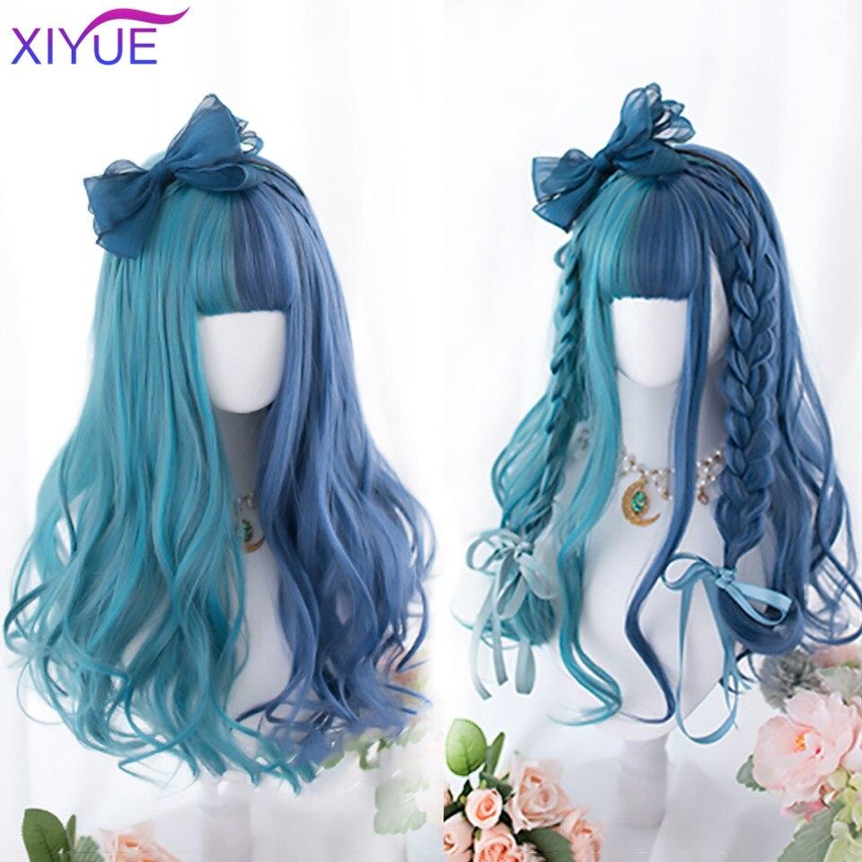 Синий и зеленый парик XIYUE, длинные прямые волосы, косплей-парик, двухцветные Женские синтетические парики с эффектом омбре