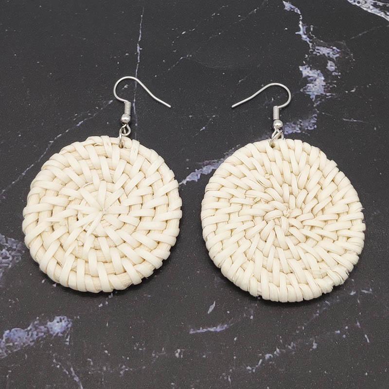 Bohemian Wicker Rattan Knit Pendant Earrings Handmade Wood Vine Weave Geometry Round Statement Long Earrings for Women Jewelry 34