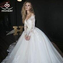Lange Mouw Baljurk Trouwjurk Sweetheart Applicaties Illusion Lace Hof Trein Swanskirt Bruidsjurk Vestido De Novia HZ01