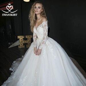 Image 1 - Long Sleeve Ball Gown Wedding Dress Sweetheart Appliques Illusion Lace Court Train SWANSKIRT Bridal Gown Vestido de novia HZ01
