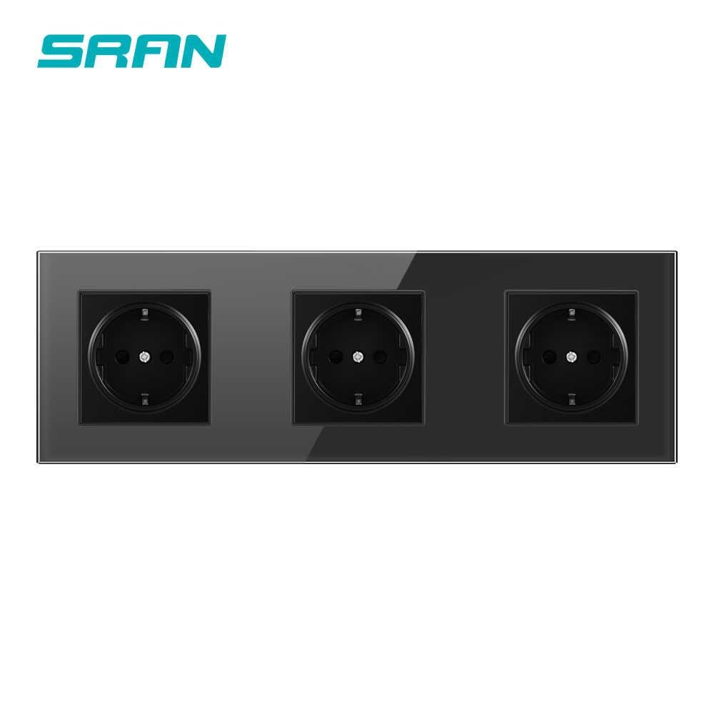 SRAN 벽 크리스탈 유리 패널 멀티 웨이 전원 소켓 플러그 접지 16A EU 더블, 트리플, 4 배 소켓 스트립 소켓