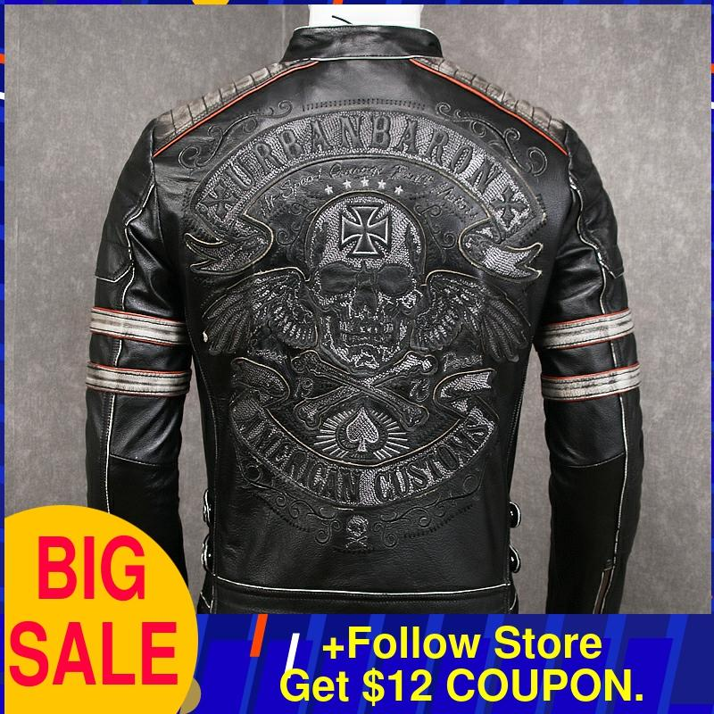 2020 Vintage Black Men Skulls Embroidery Biker's Leather Jacket Plus Size XXXXL Genuine Cowhide Spring Slim Fit Leather Coat